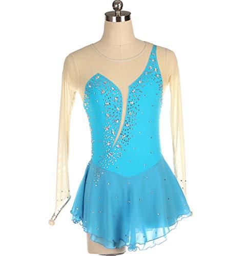 Vestido De Patinaje Artistico Moda Manga Larga Body Gimnasia Rítmica Niñas Ropa Disfraz Gimnasia Vestido Pedrería Brillante Diseño,Azul,XS