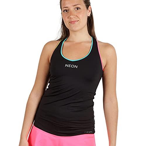 NEON STYLE - Camiseta de Tirantes para Tenis y Pádel Tarba Rainbow | Color Negro con Tiras Amarillas, Azules y Rosas | Talla M | Camiseta de Lycra, Fresca y Cómoda | para Mujeres Deportistas