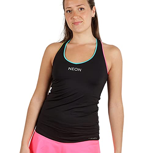 NEON STYLE - Camiseta Deportiva de Tirantes para Mujer | Top de Deporte de Lycra | Ropa Fitness | Tarba Rainbow, Talla S | Color Negro con Tiras Amarillas, Azules y Rosas Flúor