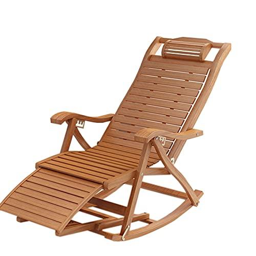 Schaukelstühle Schwingstuhl Garten Bambus Klappwippe Liege, Draussen Garten Terrasse Veranda Schaukelstuhl, Balkon Lounge Chair Mit Kopfstütze & Fußstütze, Laden Sie 200 Kg Outdoor ( Color : Style-1 )