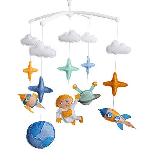 Bleu Orange Univers bébé Berceau Cloche à la Main Musical Mobile bébé Douche Cadeau pépinière décor pour garçons