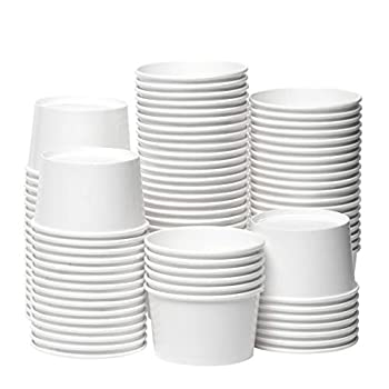 [12 oz 100-Count White] Papernain Paper Disposable Ice Cream Cups Dessert Bowls