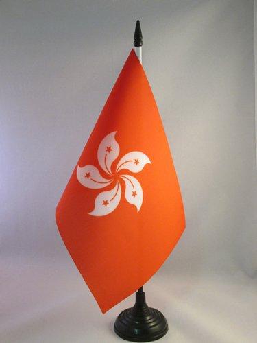 AZ FLAG TISCHFLAGGE Hongkong 21x14cm - HK TISCHFAHNE 14 x 21 cm - flaggen