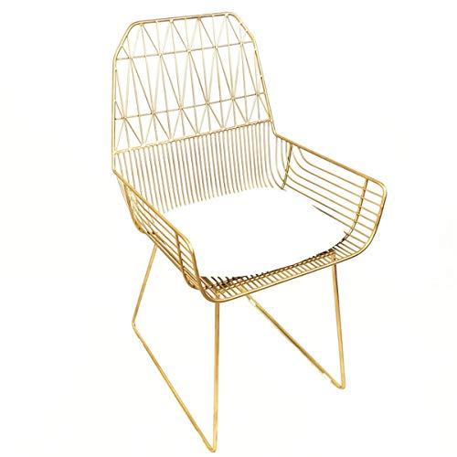 L.W.S Meubles de Chambre à Coucher Tables et chaises Open-Open-Open-Openwork Chair de Fer Chaise de Fer à Manger, Chaise Longue Simple, Chaise de Design Moderne (Color : Gold)