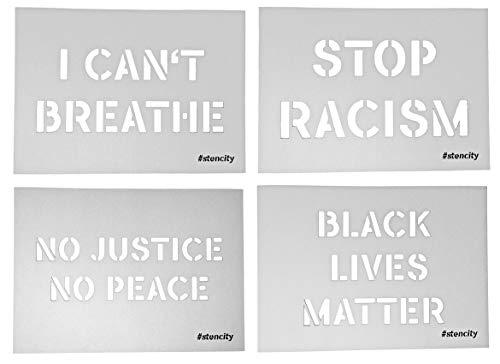 stencity Spray-Vorlage Black Lives Matter Set - Sprüh-Schablone für Kreide-Spray - BLM-Schablonen für Spray-Dosen…