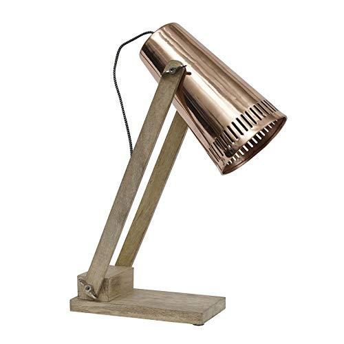 Tischlampe mit Kupfer-Lampenschirm und Holzfuß
