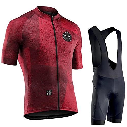 Gnaixyc Completo Ciclismo Estivo, Manica Corta Tuta Ciclismo Uomo + Pantaloncini con Bretelle in Gel 9D, Ad Asciugatura Rapida Traspirante,D,M