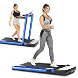 ANCHEER 2 in 1 Folding Treadmill, 2.25HP Electric Under Desk Treadmill for Home, Running Machine for Small Spaces with Remote Control, App, LCD Screen, Installation-Free
