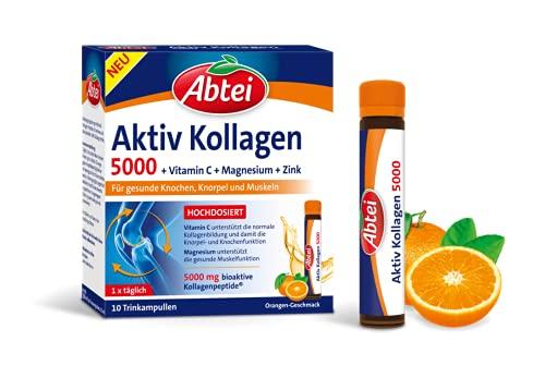 Abtei Aktiv Kollagen 5000 - Nahrungsergänzung für gesunde Knochen, Knorpel und Muskeln - mit Vitamin C, Magnesium und Zink - 1 x 10 Trinkampullen à 25 ml