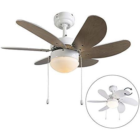 Qazqa Ventilateur de Plafond avec lumiere   Lampe de Ventilateur Moderne - Fresh Lampe Naturel Blanc - E14 - Convient pour LED - 1 x 60 Watt