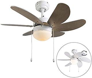 comprar comparacion QAZQA Moderno Ventilador blanco - FRESH 3 Vidrio/Madera/Acero Redonda Adecuado para LED Max. 1 x 60 Watt