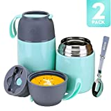 2 Pack Thermos Food Jar Soup Thermos for Kids Vacuum Insulated Lunch Containers for Hot & Cold Food,24 oz and 17 oz Stainless Steel Flask Containers Soup Bowls