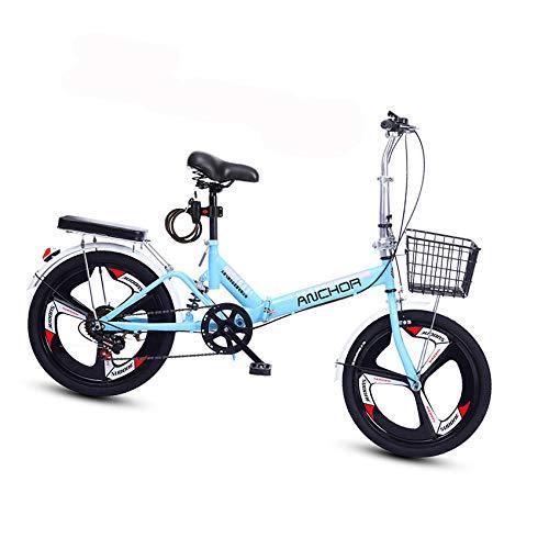 Bike Fahrrad Klapprad 20 Zoll 6 Variable Geschwindigkeit Faltbares Ultraleichtes Fahrrad Tragbare Fahrrad-stoßdämpfer Mit Variabler Geschwindigkeit, Rutschfestes Rennrad für Erwachsene Kinder-Blau