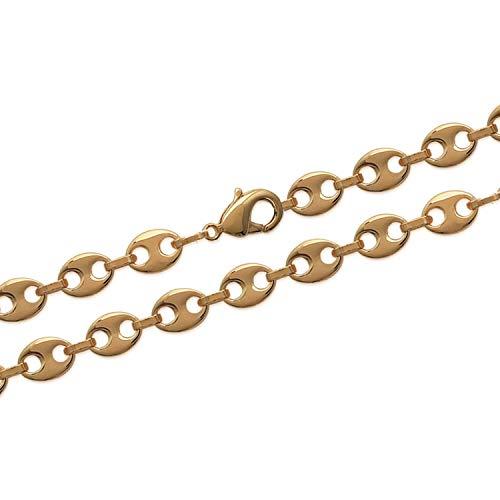 Bijouxia Cadena de eslabones de Grano de café chapada en Oro de 18 Quilates 750/1000, Joya para Hombre