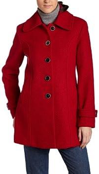 Fleet Street Women s Basket Weave Coat,Red,X-Large