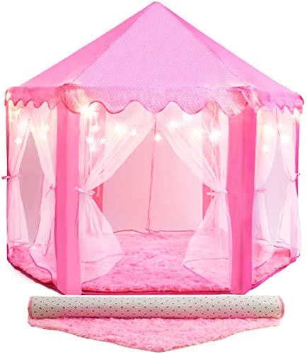 PLAYVIBE 55 X 53 Princess Tent for Kids Includes Ultra Soft Rug Star Lights Princess Castle product image