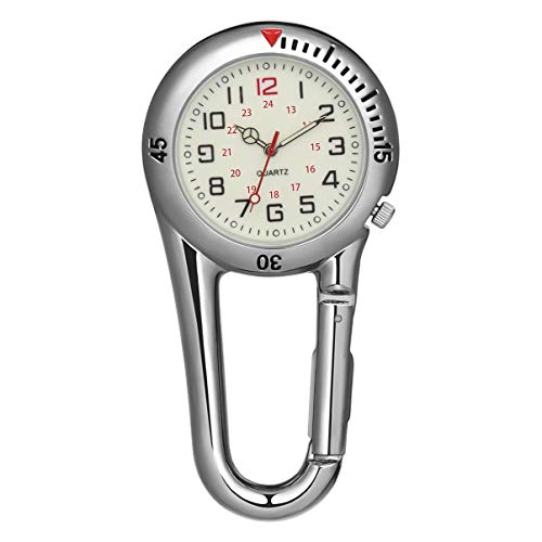 NICERIO Outdoor Belt Fob Watch - Carabiner Watch Glow in The Dark Clip-on Watch Luminous Pocket Watch for Outdoor Sports Rock Climbing Mountaineering (White)
