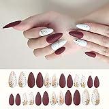 Sethexy Noël Mat Stylet Moyen Faux ongles rouge blanc Style de mode Acrylique Art Faux Ongles Conseils Cloches de Noël 24...