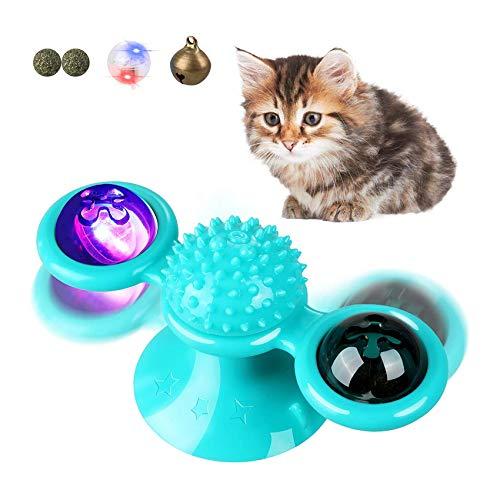 Shengruili Windmühle Katzenspielzeug,Puzzle katzenspielzeug,Glühender Ball interaktives,Katzen Spielezeug mit Katzenminze,Spielzeug für Katzen,Katzenball Windmühle,Interaktives Necken Katzenspielzeug