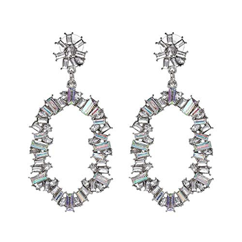 Presock Pendientes Mujer,Aretes Good Quality Multi Color Crystal Fashion Drop Earrings For Women Girl Party Statement Earrings 50958-AB