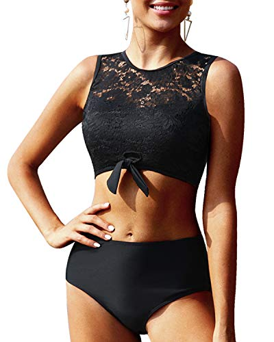 Tempt Me Women Black Lace Bikini Tie Knot Front High Waisted Swimsuit High Neck Two Piece Bathing Suit L(US 12-14)