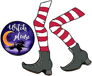 Halloween Decorations Kit with Witch Legs and Witch Please Magnets for Decorating Cars, Fridges, or Garage Doors, Set of 2