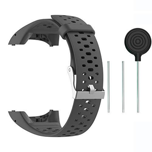 Saisiyiky Accesorio Reemplazo de Liberación Rápida Banda de Reloj de Silicona Suave Pulsera de Correa Deportiva para M400 / M430 GPS Reloj smartwatch(Gris)
