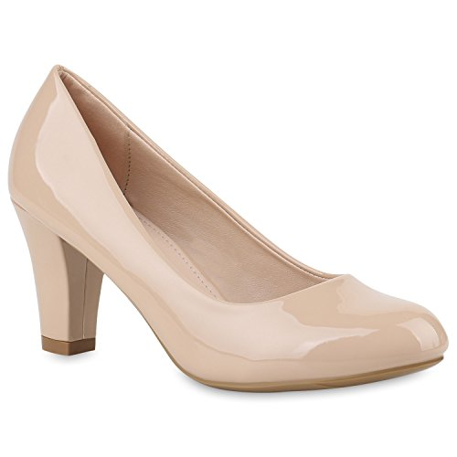 Damen Pumps Klassische Pumps Lack Elegante Business Schuhe 144840 Nude Lack 37 Flandell