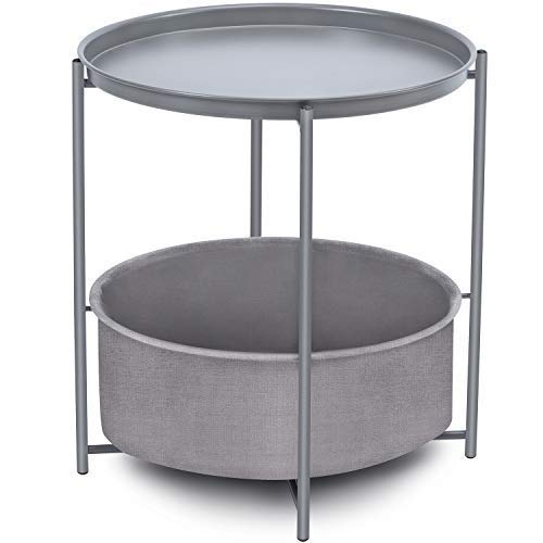 BJYX Sofa Side Snack Table,Coffee Round Table with Basket,Metal End