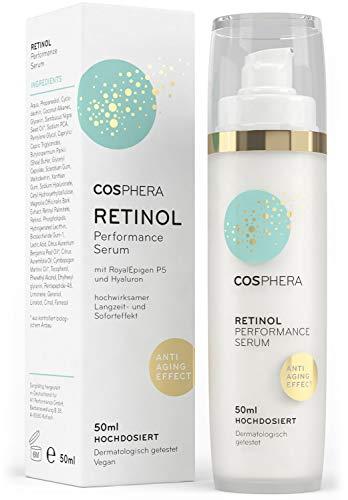Cosphera - Retinol Performance Serum 50 ml - mit Hyaluronsäure - veganes hochdosiertes Konzentrat Gel für Gesicht, Hals- Anti-Falten Feuchtigkeitsbehandlung für Frauen und Männer