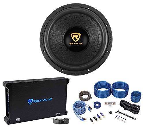 Rockville W12K9D4 12' 4000 Watt Car Audio Subwoofer+Mono Amplifier+Amp Kit