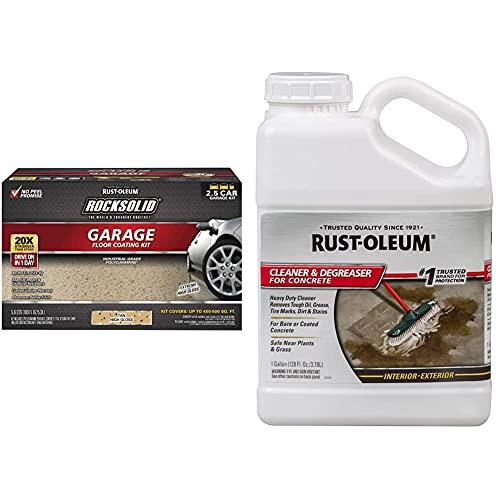 Rust-Oleum 293515 Rocksolid Polycuramine Garage Floor Coating, 2.5 Car Kit, Tan & 301243 Cleaner and Degreaser, 1 Gallon