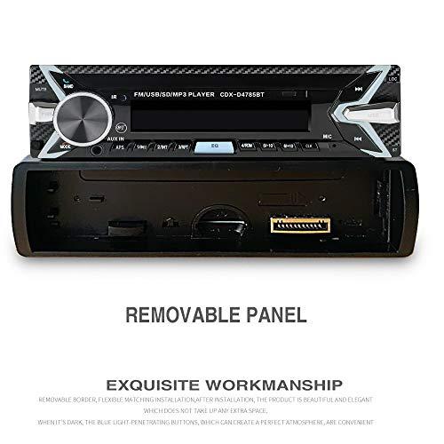Autoradio Bluetooth, 1 Din Radio de Voiture Audio, 7 Couleurs Stereo FM Radio 4x60W Poste Radio Voiture Soutien Bluetooth/USB/SD/AUX/EQ / MP3 / TF + Télécommande ?Panneau détachable?