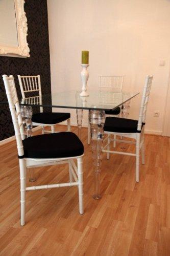 Casa Padrino Designer Acryl Esszimmer Set Weiß/Schwarz - Ghost Chair Table - Polycarbonat Möbel - 1 Tisch + 4 Stühle Designer Möbel