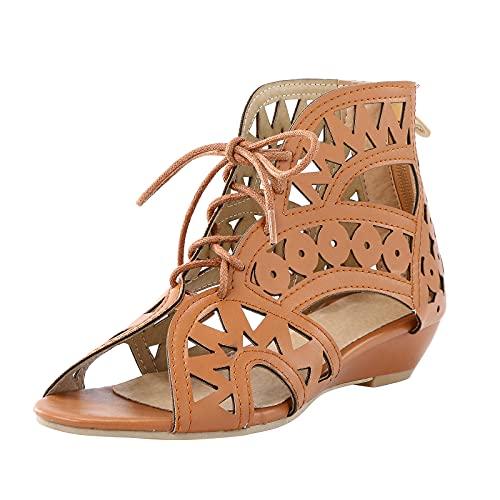 Dam sandaler snörning halvskor urholkning andas bekväm platt strand sandal peep tå kväll fest klänning skor sommar sandaler fritidsskor, - 1 brun brun - 37 EU