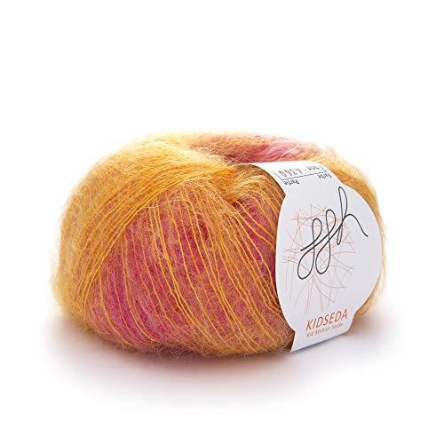 ggh Kidseda, Farbe:201 - Pinkmeliert, Mohair, Seide Mischung, 25g Wolle als Knäuel, Lauflänge ca.210m, Verbrauch 125g, Nadelstärke 4-5, Stricken