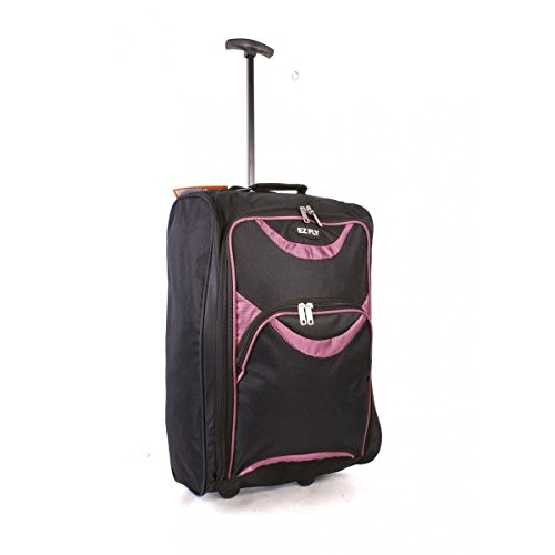 Wheeled Hand Luggage Trolley Small Flight Travel Bag Cabin Suitcase Holdall (Black - Pink)