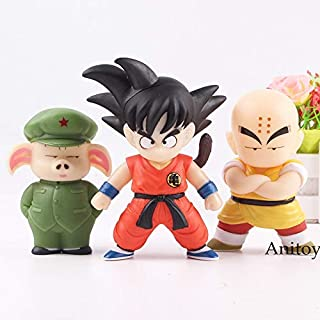 MAI PHUONGass Figure Son Goku Oolong Krillin Figure Hot Toys PVC Anime Cartoon Figures Collection Model Toys for Children 3Pcs/Set Must Have Toys The Favourite Comic