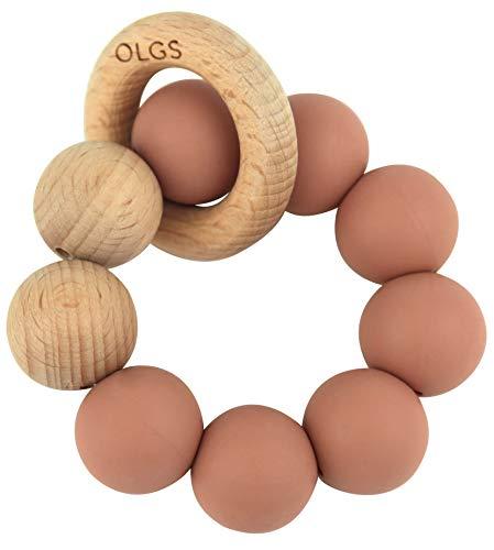 Beißring aus Silikon und Holz für Babys & Kleinkinder | Pastell Rosa Greifling zum Zahnen Beißspielzeug | BPA-frei und einfach zu reinigen | Greifring für Mädchen (Muted)