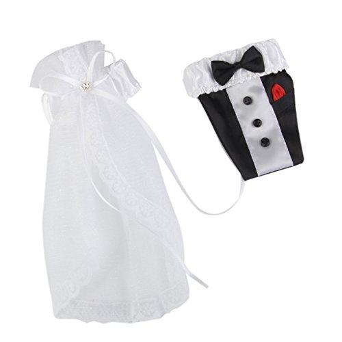 Sharplace Braut, Bräutigam, Hochzeitskleid Kleidung Set Flaschenkostüm Rot Wein Glas Deko Hochzeit Tisch Deko Party Hochzeit Dekoration