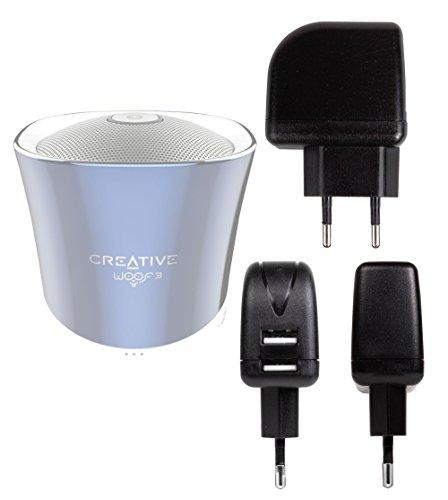 DURAGADGET Chargeur Secteur 2X USB pour Creative iRoar Go, Muvo 2/2c, Nuno/Nuno Micro, et Woof 3 Enceintes Portables - (Charge Rapide 2 Amp)