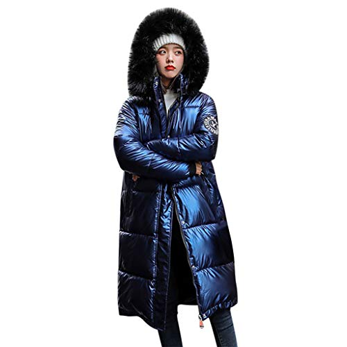 KEERADS Damen Winterjacke Lange Lang Parka mit Fellkapuze Daunenjacke Hechtmantel Pelzmütze Winddicht Warmer Mantel Outdoorjacke wasserdichte Jacke Steppmantel S-2XL
