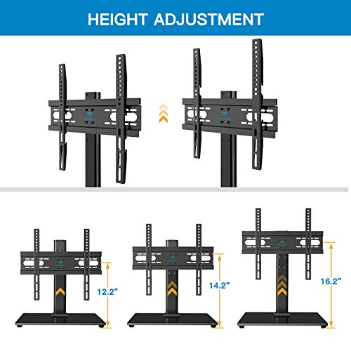 PERLESMITH Universal TV Stand Table Top TV Stand for 37-55 inch LCD LED TVs - Height Adjustable TV Base Stand with Tempered Glass Base & Wire Management, VESA 400x400mm