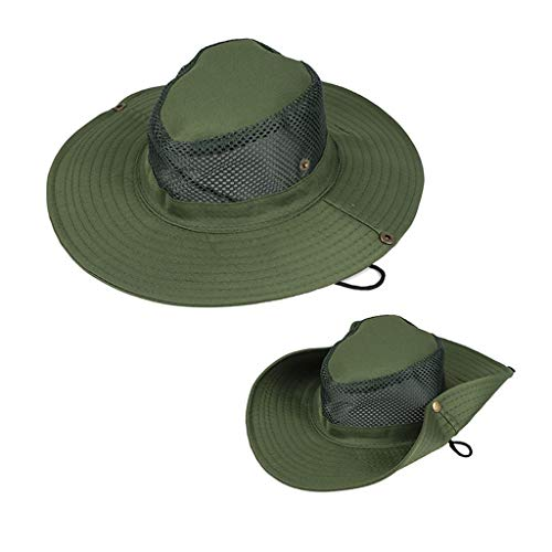 Fine 2PC Fisherman's Hat for Men & Women,Summer Cap with UV Protection Outdoor Bucket Hat for Fishing, Beach, Hiking, Camping, Gardening & Boating (Army Green)