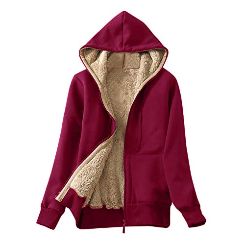 Felicove Baumwollmantel Jacke Damen Casual Winter Warm Sherpa Gefüttert Zip Up Kapuzenjacke Jacke Mantel Herbst Winter Oberbekleidung Mode Fleecejacken Pullover Outdoorjacke