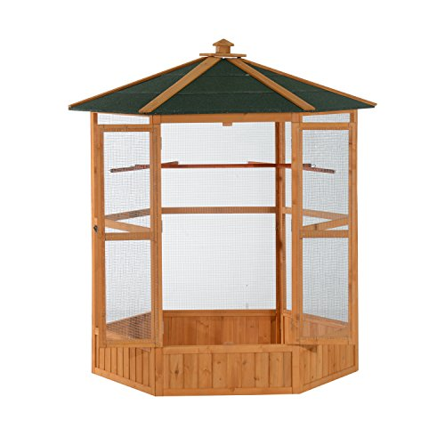 """PawHut 65"""" Large Wooden Hexagonal Outdoor Aviary Flight Bird Cage with Covered Roof"""