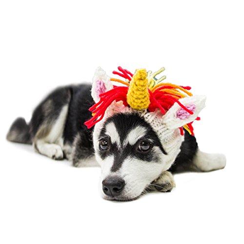 Zoo Snoods Unicorn Dog Costume - Neck and Ear Warmer Headband for Pets (Medium)