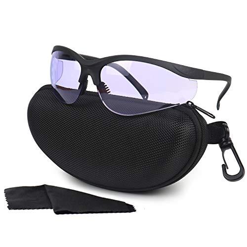 LaneTop Shooting Glasses for Men and Women, Anti Fog ANSI Z87.1 Safety Glasses with Hard Shell Case, UV400 Eye Protection for Shooting Range Glasses, Purple Lens