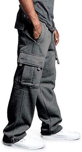 Man Casual Fleece Pants Solid Heavyweight Sweatpants Jogging Cargo Pocket Fashion SportsElastic Trousers (Dark Grey, XL)