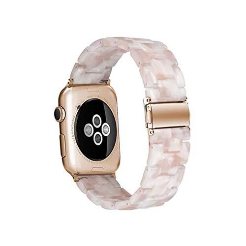 LYDBM Correa de Reloj de Resina para Apple Watch 6 5 4 Band 42mm 38mm Correa de Acero Transparente para iWatch 6 Series 5 4 3/2 Reloj de Reloj 44mm 40mm (Color : Pink Flower, Talla : 38mm or 40mm)